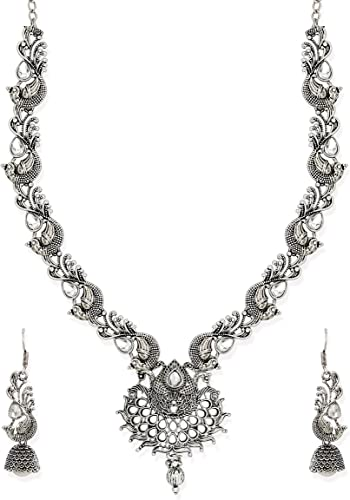 Antique Silver Tone Peacock Inspired Necklace Set for Women ZPFK6732
