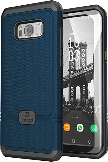 Jaagd Galaxy S8 Plus Case, S8+ Case, Shock-Absorbing Slim Dual-Layer Grip Cell Phone Cases for Samsung Galaxy S8 Plus (Navy)