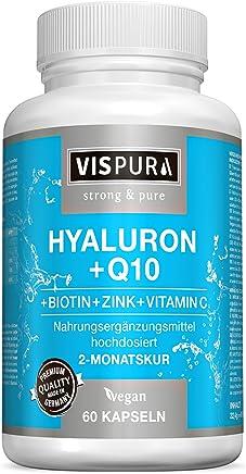 Vispura Acido Ialuronico ad alto dosaggio + coenzima Q10, capsule vegetali per un trattamento di 2 mesi micromolecule 500-700 kDa, prodotto di qualità tedesca senza magnesio stearato