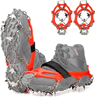 FANBX Traction Ice Cleats Crampons Anti-Slip Ice Snow Grips with 19 Spikes Traction Cleats for Footwear for Ice Climbing, Walking, Jogging, Hiking, Mountaineering on Snow and Ice in Orange