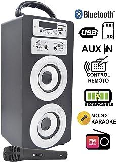 DYNASONIC Altavoz Bluetooth con modo Karaoke Bluetooth 10W, Reproductor mp3 inalámbrico portátil, lector USB SD, Radio FM - Modelo color Negro