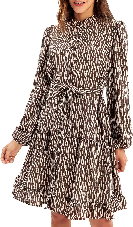 GRACE KARIN Women's Tiered Dress Casual Shirt Stand Collar Long Sleeve Dress with Belt