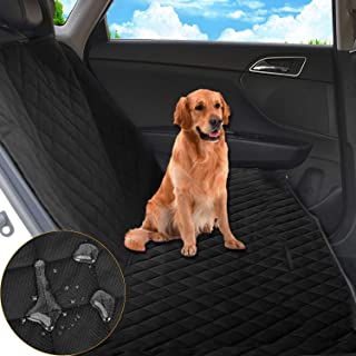 JINCong Pet Seat Cover Scratch-Proof Waterproof Anti-Slip Dog Car Seat Covers Enhanced Sewing Suitable for Car Trucks SUV Rear Seat Protection (Black)