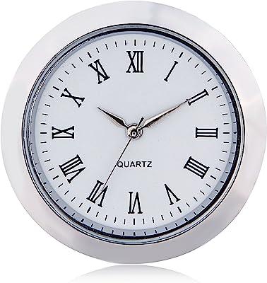 ShoppeWatch Mini Clock Insert Quartz Movement Round (55mm) Miniature Clock Fit Up White Face Silver Tone Bezel Roman Numerals CK084SL