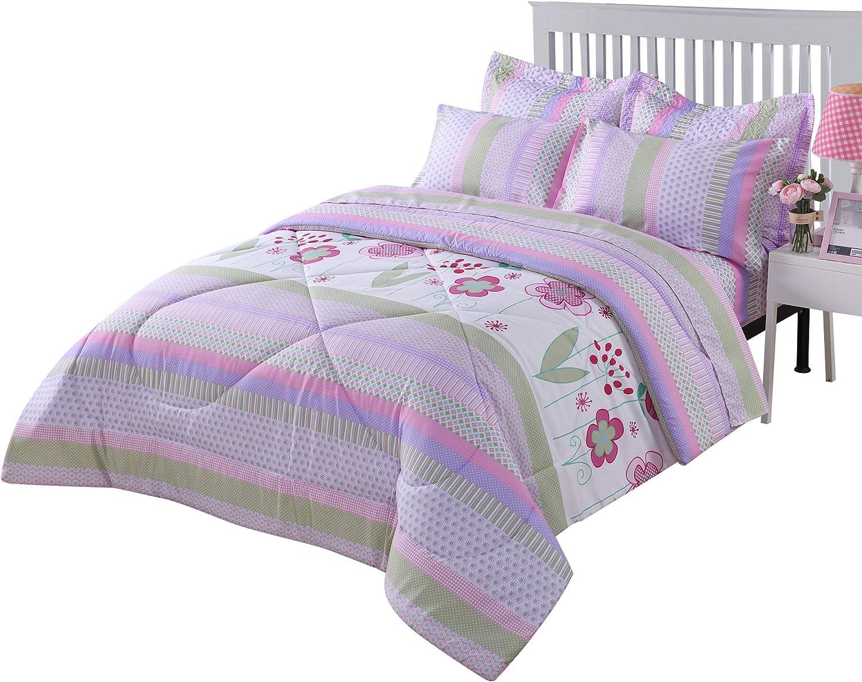 MarCielo Kids Comforter Set Girls Comforter Set Kids Bedding Set Include Sheet Set Bunk Beds for Kids Twin Full, Purple Floral (Full)