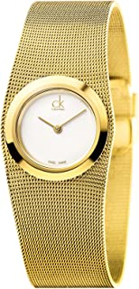 Calvin Klein Impulsive Women's White Dial Yellow Gold Plated Band Watch - K3T23526
