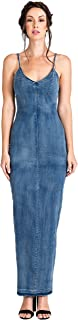 Modern Women's V-Neck Indigo Tencel Denim Slip Maxi Dress