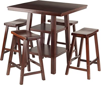 Winsome Wood Orlando 5 Piece Set High Table, 2 Shelves with 4 Saddle Seat Stools