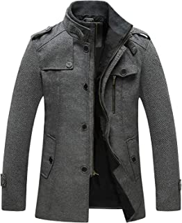 Sponsored Ad - Wantdo Men's Wool Blend Jacket Stand Collar Windproof Pea Coat