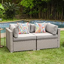 COSIEST 2-Piece Outdoor Furniture Loveseat Wicker Sectional Sofa Set w Warm Gray Thick Cushions, 2 Floral Fantasy Pillows for Garden, Pool, Backyard