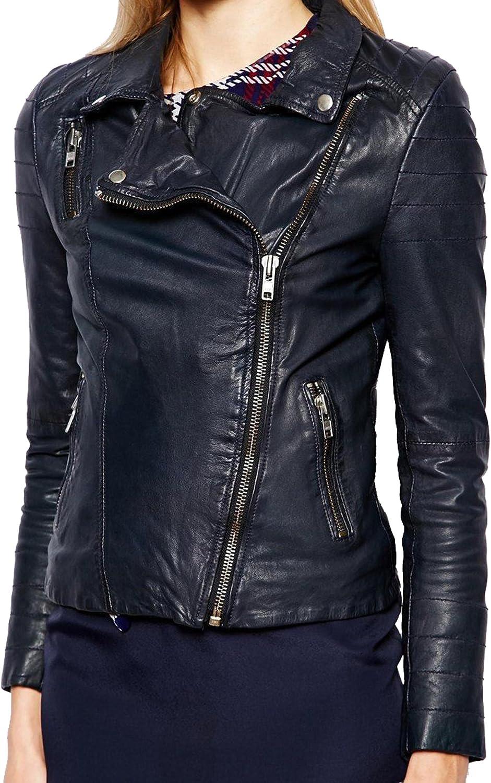 New Women Motorcycle Lambskin Leather Jacket Coat Size XS S M L XL LTN635