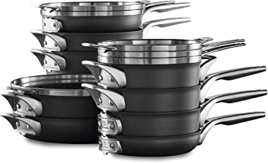 Calphalon Premier Space Saving Nonstick Pots and Pans, 15-Piece, Black
