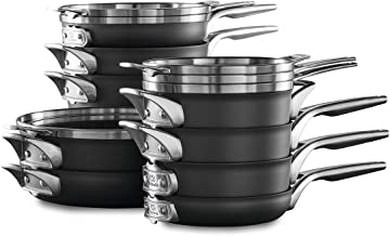 Calphalon Premier Space Saving Pots and Pans Set, 15 Piece Cookware Set, Nonstick