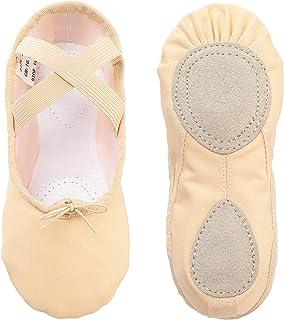 Zapatillas de Ballet Danza Canvas para Niña y Mujer Calzado de Danza Suela Partida de Cuero Tallas 22-44