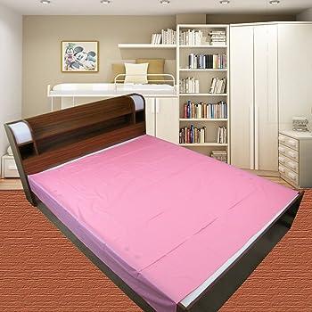 Goodluck Baby Waterproof Plastic Sheet Double Bed Mattress Protection (7.5 x 6.5 ft, Pink)