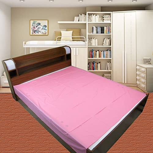 GoodLuck Baby Waterproof Plastic Sheet Double Bed King Size/Baby Adult Waterproof Protection Sheet for Mattress (7.5 x 6.5 feet)- Pink
