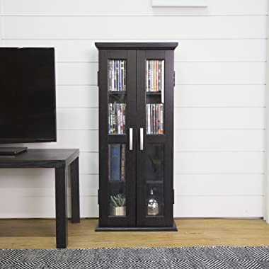 Walker Edison 4 Tier Shelf Living Room Storage Tall Bookshelf Cabinet Doors Home Office Tower Media Organizer, 41 Inch, Black