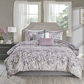Madison Park Gabby Queen Size Bed Comforter Set Bed in A Bag - Purple, Paisley – 7 Pieces Bedding Sets – 100% Cotton Sateen Bedroom Comforters