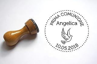 Timbro Prima Comunione personalizzabile, forma rotonda, conome e data, colomba