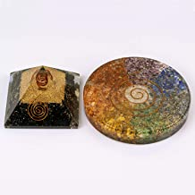 Energy Generator Stone Black Tourmaline Orgone Pyramid Crystals Remove Negative Energy, Protect the Aura | 7 Chakra Handmade Coasters Leads to Growth and Stability in Every Aspect of Our Life