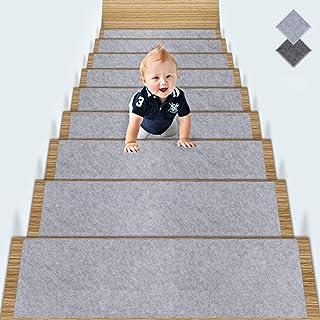 TOPLDSM Self-Alfombrillas Escalera Adhesivas, Antideslizante Peldaños Alfombra Escalera Cojines Peldaños Cubierta Clip Dinero Interiores Forro Goma para Niños Ancianos Perros, Gris, 15 Pcs Set