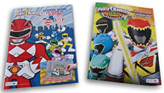 Bendon Publishing International Saban's Power Rangers Dino Charge + Sticker Scene Coloring and Activity Book Bundle