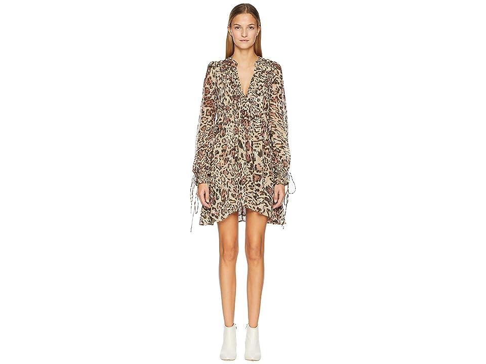 The Kooples Long Asymmetrical Dress In Silk Muslin (Leopard) Women