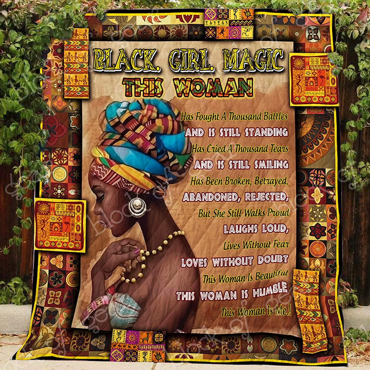 Black. Girl. Magic Proud African Quilt P171b, Queen All-Season Quilts Comforters with Reversible Cotton King Queen Twin Size - Best Decorative Quilts-Unique Quilted for Gifts