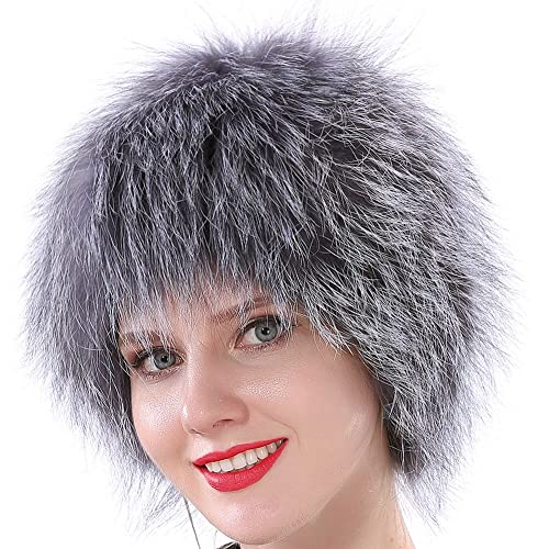 Valpeak Womens Winter Hats Real Knitted Fox Fur Hat Strong Elasticity c9fd96ed415