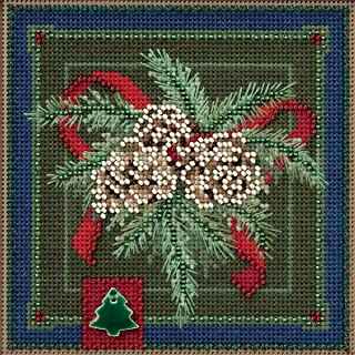 Festive Pine Beaded Counted Cross Stitch Kit Mill Hill Buttons & Beads 2016 Winter Series MH141634