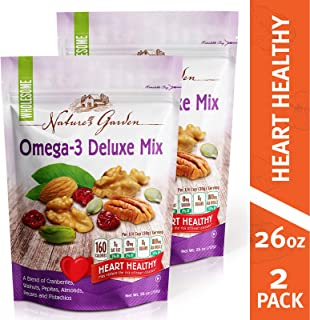 Nature's Garden Omega-3 Deluxe Nut Mix, trail Mix, Heart Healthy, vegan. kosher, Gluten Free, Sodium Free, Cholestrol Free, No Artificial Ingredients, 26 oz (Pack of 2)