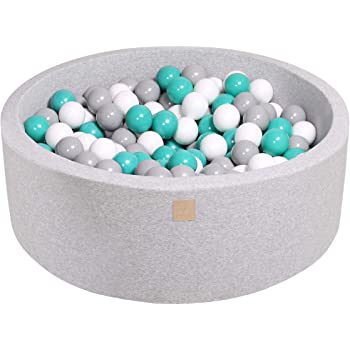 MEOWBABY 35 x 11.5 in /200 Balls Included ∅ 2.75in Foam Ball Pit for Baby Kids Soft Round Ball Pool Children Toddler Playpen Made in EU Light Grey: Turquoise/Grey/White