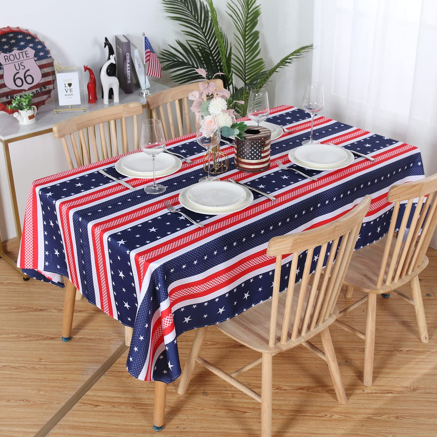LUSHVIDA American Striped Rectangle Table Cloth, Polyester Stars Patriotic Plaid Tablecloth, Table Cover Protector for July 4th Independence Day Party Supply Decor, 60 x 120 Inch