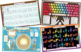 Tot Talk Educational Kids Placemats Set of 4: Learn to Type, Cursive, Sign Language, Table Setting & Etiquette- Reversible Activities- Waterproof, Washable, Wipeable, Durable, USA-Made, Table Mats