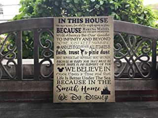 Disney House Rules Themed Canvas, We Do Disney, Personalize With Family Name, Custom Home Decor, Perfect Christmas Gift, Wedding, Housewarming