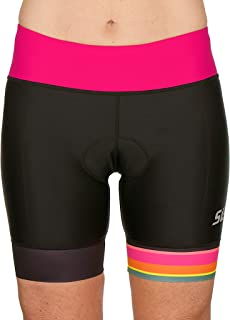 SLS3 Triathlon Shorts for Women | Tri Shorts Women | Super Comfy Tri-Shorts with Soft Chamois 6 Inch | Slim Athletic Fit | Designed by Athletes for Athletes