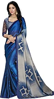 Gaurangi Creation Women's Chiffon Printed Saree with unstitched blouse piece