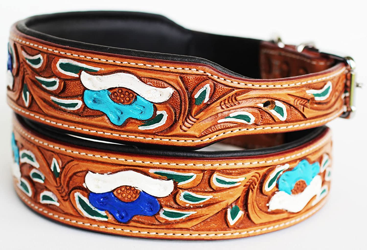 Dog Puppy Collar Genuine Cow Leather Padded Canine 60100