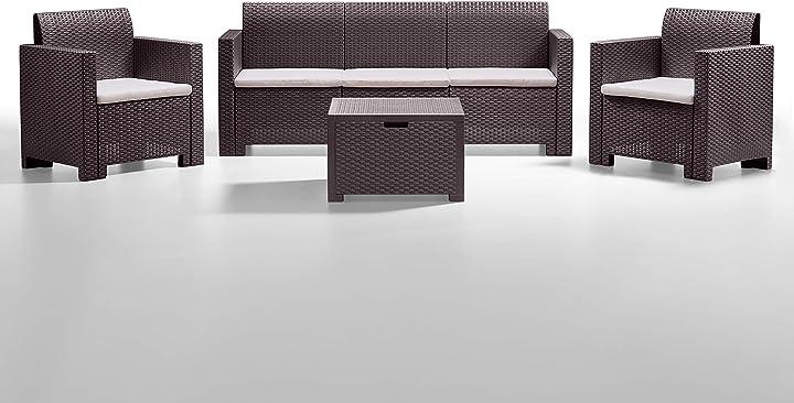 Giardino con divano, poltrone e tavolino, marrone bica 9068.3 set nebraska salottino
