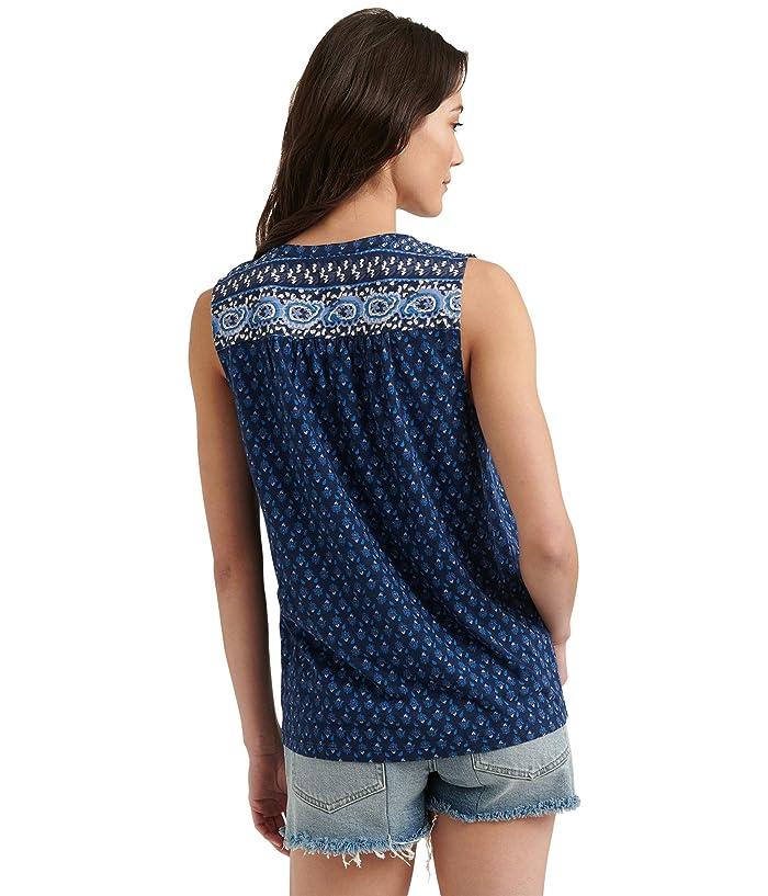 Lucky Brand  Sleeveless V-Neck Button-Up Border Print Top (Navy Multi) Womens Clothing