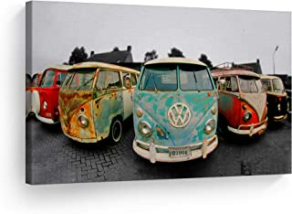 Decorative Canvas Print Vintage Volkswagen Van Bus Art Modern Wall Décor Artwork Wrapped Wood Stretcher Bars - Ready to Hang -%100 Handmade in The USA - 8x12