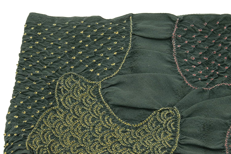 (ソウビエン) 帯揚げ 深緑 ダークグリーン 青海波 雲取り 絞り 正絹 振袖向け 成人式向け 和装小物