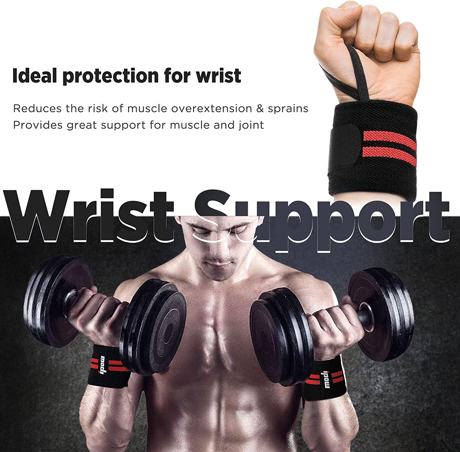 IPOW 18.5 Professional Quality Wrist Straps Support Braces Wraps Belt Protector with 2.5 Thumb Loops for Powerlifting Bodybuilding One Size fits All Men/& Women Weight Lifting Strength Training