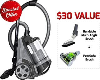 Ovente ST2620B Bagless Canister Cyclonic Vacuum – HEPA Filter – Includes Pet/Sofa, Bendable Multi-Angle, Crevice Nozzle/Bristle Brush, Retractable Cord – Featherlite, Black (Renewed)