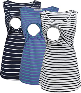 Bearsland Women's Sleeveless Maternity Nursing Tank Tops Breastfeeding Shirts