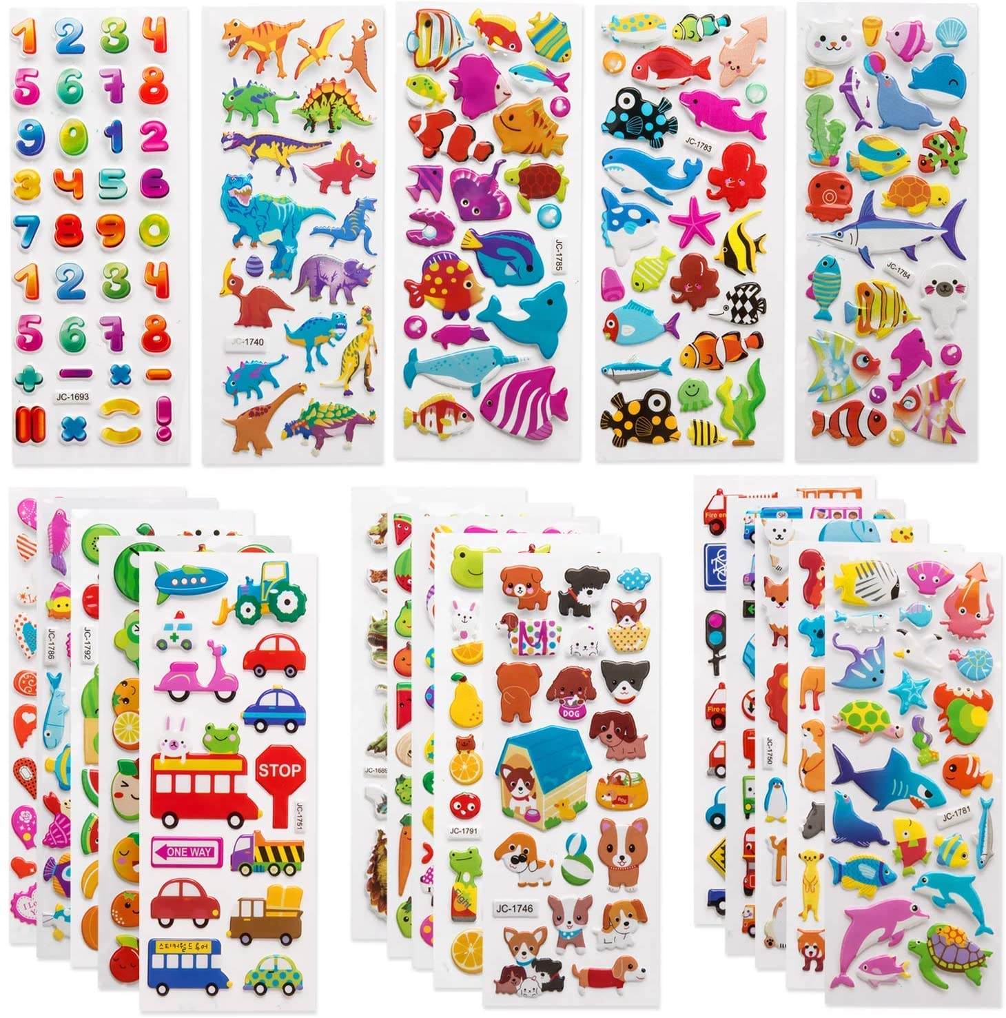 Kids Dinosaur 3D Puffy Stickers Craft Scrapbooking for Childrens UPINS 14 Diffrent Sheets 200+Count