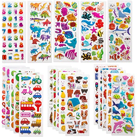 SAVITA 3D Stickers for Kids & Toddlers 500+ Puffy Stickers Variety Pack for Scrapbooking Bullet Journal Including Animal, Numbers, Fruits, Fish, Dinosaurs, Cars and More…