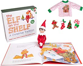 Elf On The Shelf Boy with Customizable Christmas Sweater Set - Blue Eyed Boy Elf w Book, Sweater, and Five Festive Holiday Outfit Decorations