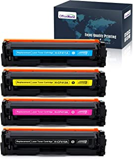 Office World 4 Packs 410A Compatible Toner Cartridge Replacement for HP 410A CF410A Toner Cartridge (Black, Magenta, Yellow, Cyan), Work with HP M477fnw M477fdn M477fdw M377dw M452dn M452dw M452nw
