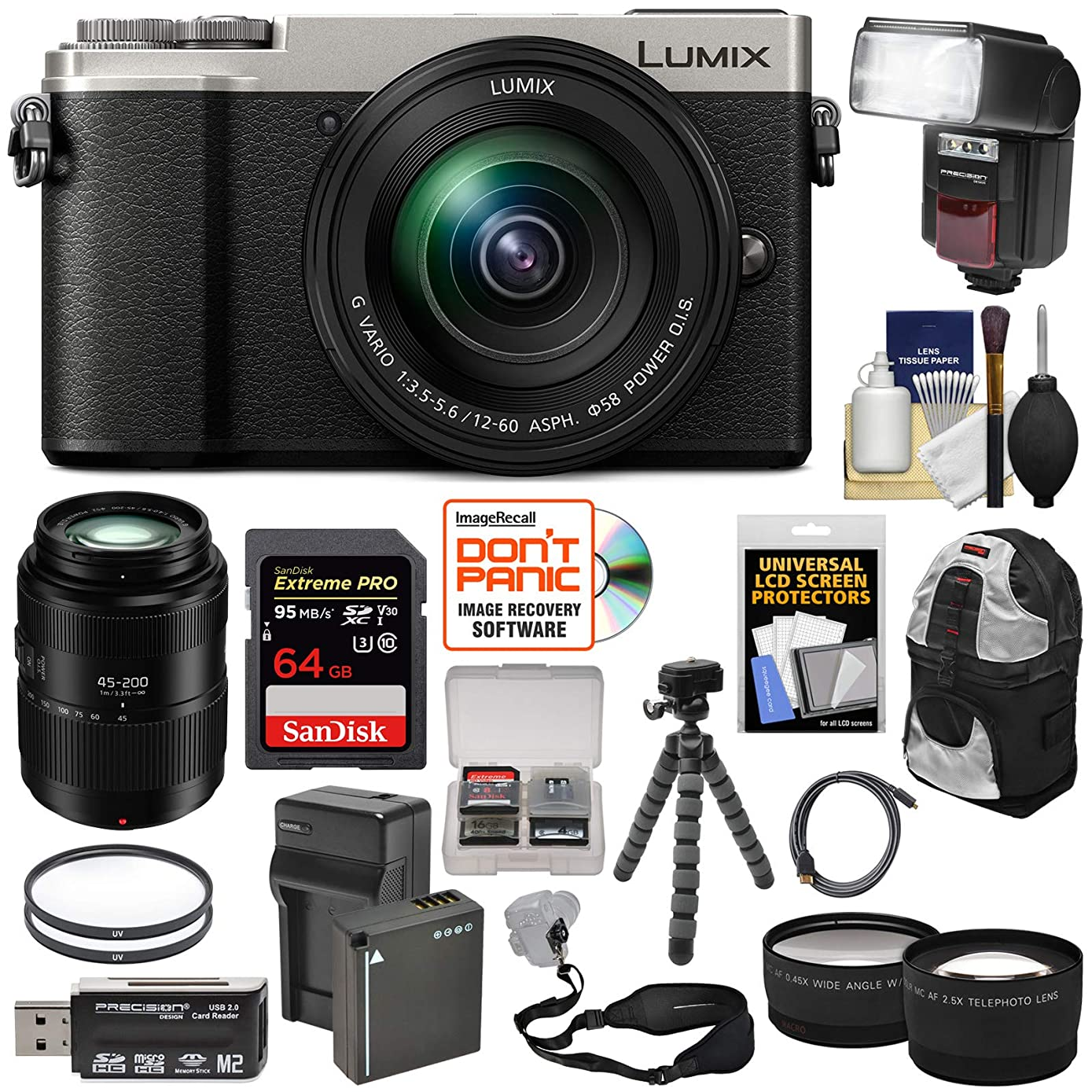 Panasonic Lumix DC-GX9 4K Wi-Fi Digital Camera & 12-60mm (Silver) + 45-200mm Lens + 64GB Card + Battery + Backpack + Tripod + Flash + Tele & Wide Lens Kit